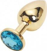 Golden plug small (металл.) цвет кристалла голубой