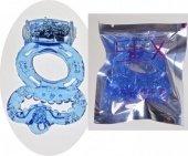 Эрекционное кольцо с вибратором с подхватыванием мошонки (цвет-голубой)